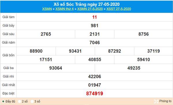 Soi cầu XSST 3/6/2020 chốt KQXS Sóc Trăng thứ 4