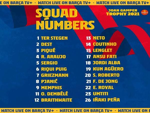 Tin thể thao 12/8: Barcelona công bố số áo cho mùa giải mới
